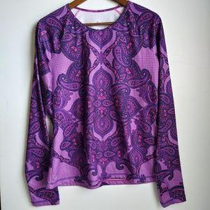 Athleta Runaway Purple Paisley Print Long Sleeve